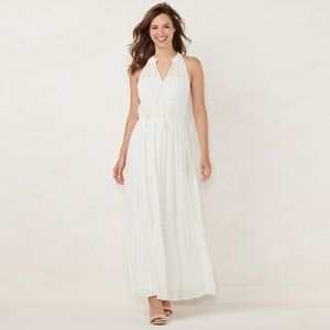 LC Lauren Conrad White Sleeveless Maxi Dress